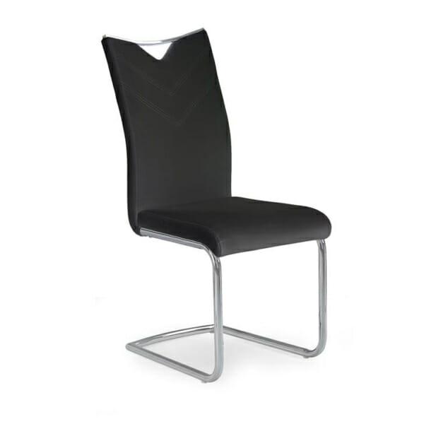 Модерен стол от еко кожа с метална основа (4 цвята)-черен