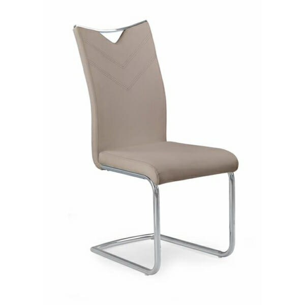 Модерен стол от еко кожа с метална основа (4 цвята)-капучино