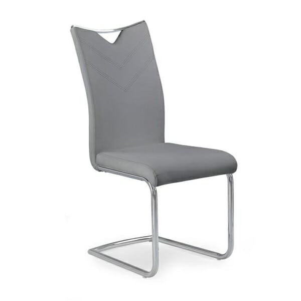 Модерен стол от еко кожа с метална основа (4 цвята)-сив
