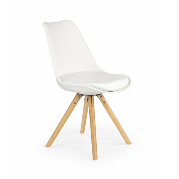 Модерен стол от пластмаса и текстил с дървени крака (7 цвята)-бял