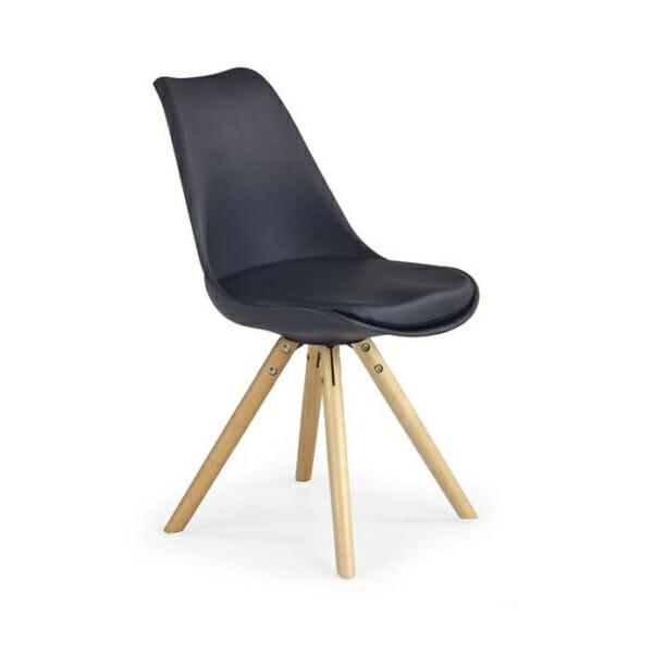 Модерен стол от пластмаса и текстил с дървени крака (7 цвята)-черен