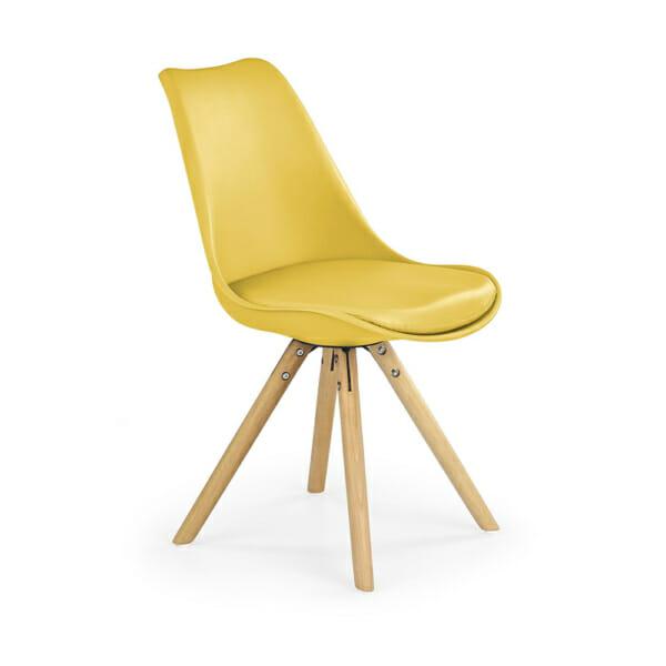 Модерен стол от пластмаса и текстил с дървени крака (7 цвята)-жълт