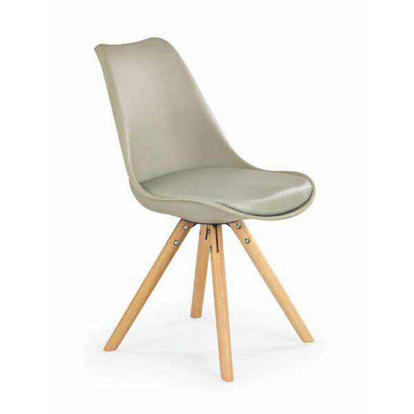 Модерен стол от пластмаса и текстил с дървени крака (7 цвята)-каки