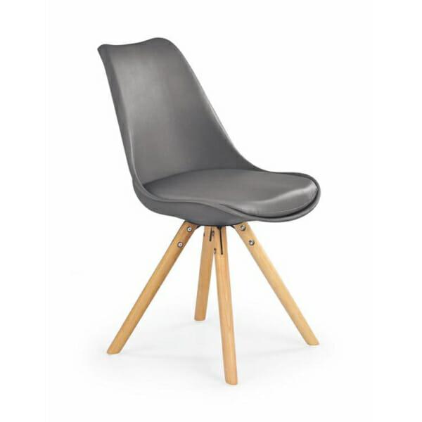 Модерен стол от пластмаса и текстил с дървени крака (7 цвята)-сив