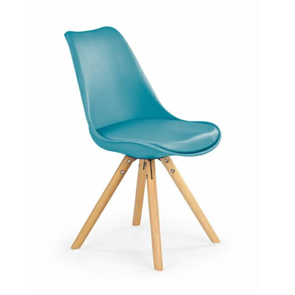 Модерен стол от пластмаса и текстил с дървени крака (7 цвята)-тюркоаз