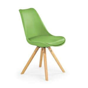 Модерен стол от пластмаса и текстил с дървени крака (7 цвята)-зелен
