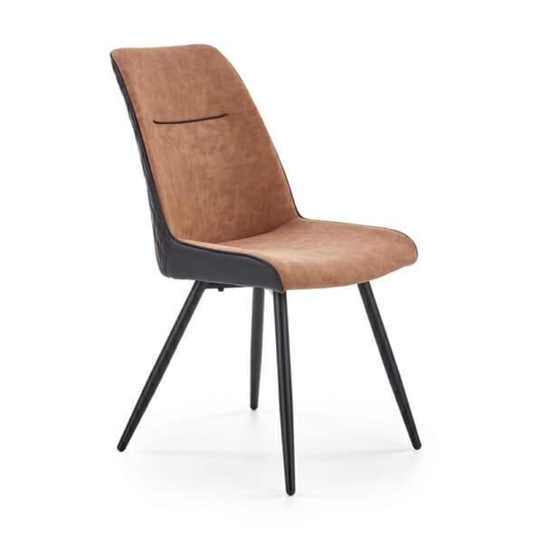 Модерен трапезен стол от еко кожа в кафяво и черно