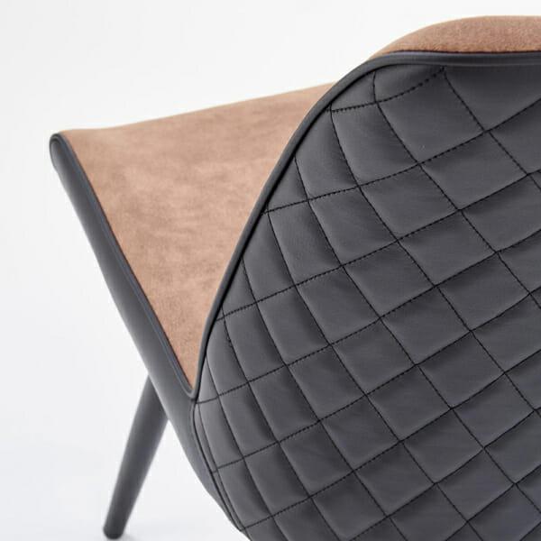 Модерен трапезен стол от еко кожа в кафяво и черно-детайл