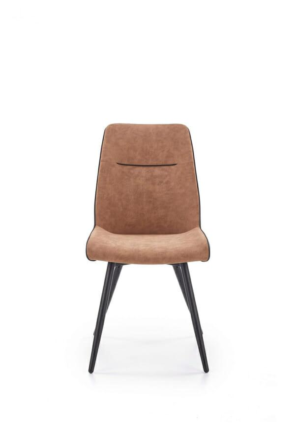 Модерен трапезен стол от еко кожа в кафяво и черно-отпред