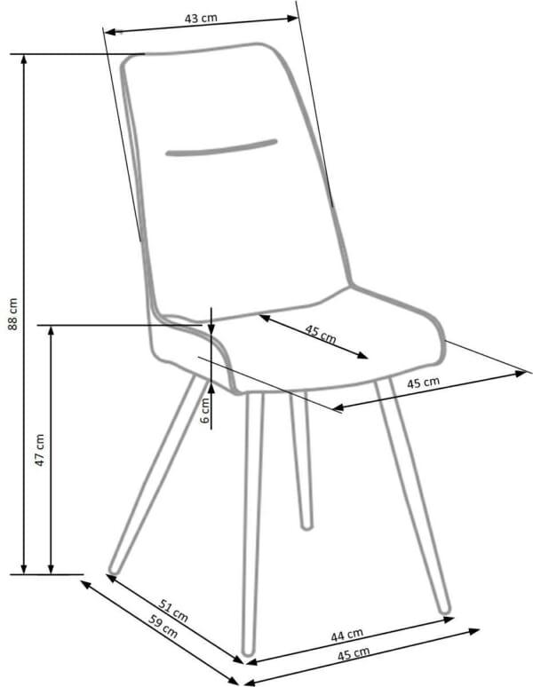 Модерен трапезен стол от еко кожа в кафяво и черно-размери