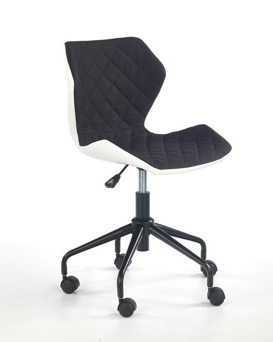 Офис стол от еко кожа текстил и метал (6 цвята) - черен