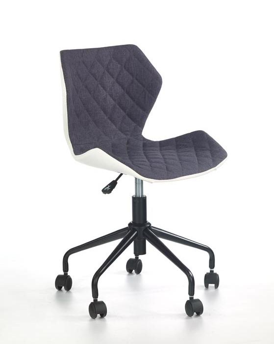 Офис стол от еко кожа текстил и метал (6 цвята) - сив