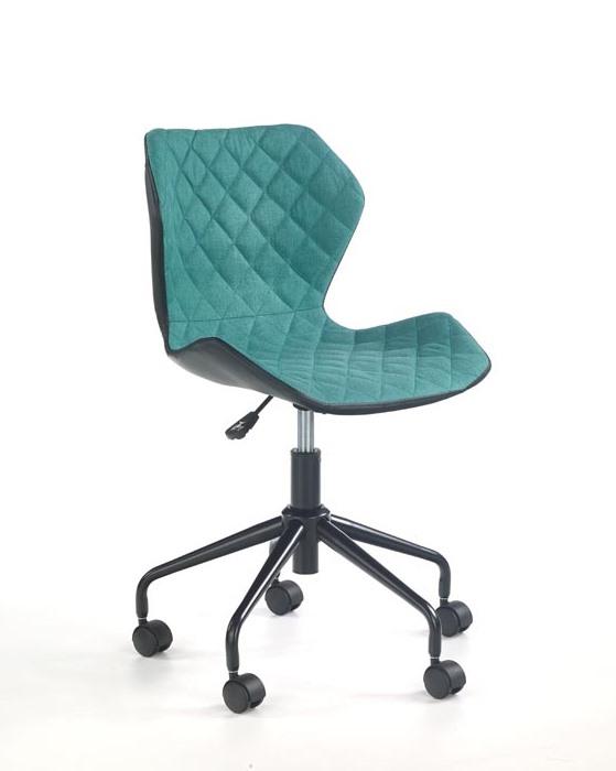 Офис стол от еко кожа текстил и метал (6 цвята) - тюркоаз
