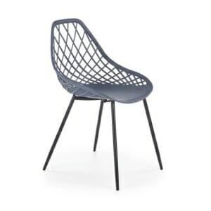 Пластмасов стол с плетен гръб и метална основа (4 цвята) - тъмносив