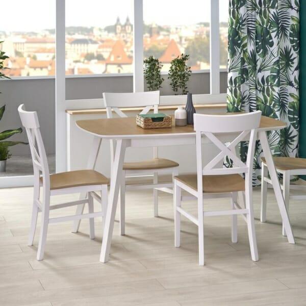Разтегателна маса за трапезария в бяло и меден дъб
