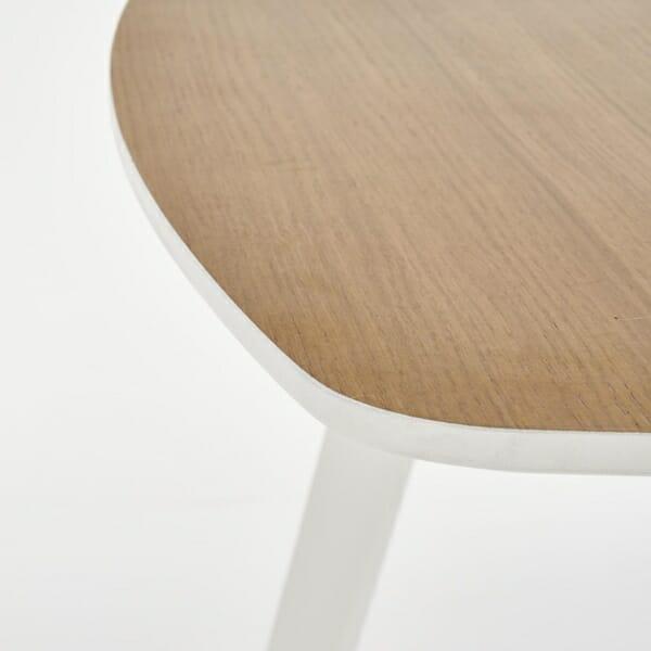Разтегателна маса за трапезария в бяло и меден дъб - детайл