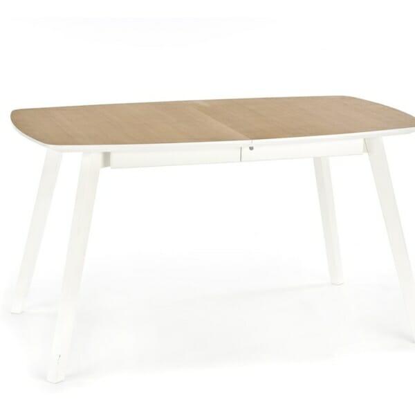 Разтегателна маса за трапезария в бяло и меден дъб - отпред