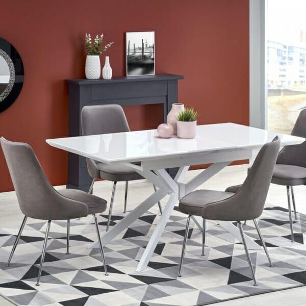 Разтегателна трапезна маса със стъклен плот в бял цвят