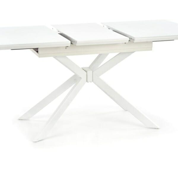 Разтегателна трапезна маса със стъклен плот в бяло - плот части