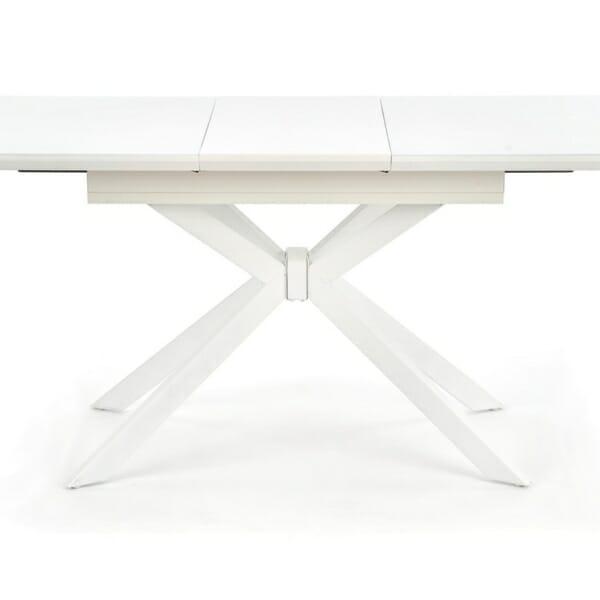 Разтегателна трапезна маса със стъклен плот в бяло - разтегната
