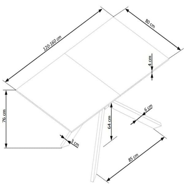 Разтегателна трапезна маса със стъклен плот в бяло - схема