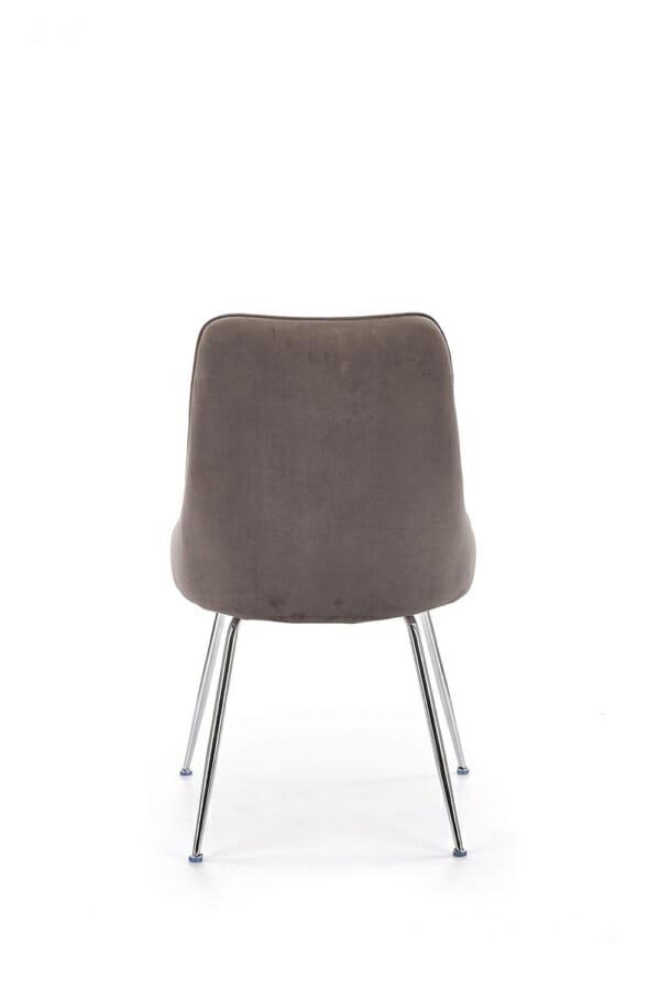 Сив трапезен стол с мека дамаска и елегантни метални крака-изглед отзад