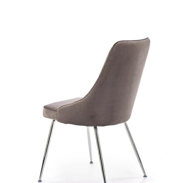 Сив трапезен стол с мека дамаска и елегантни метални крака-отзад