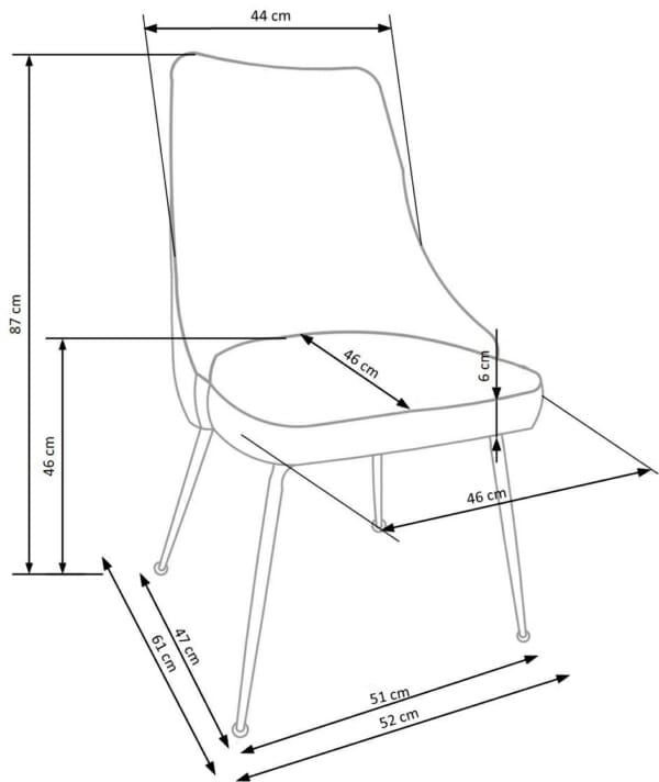 Сив трапезен стол с мека дамаска и елегантни метални крака-схема