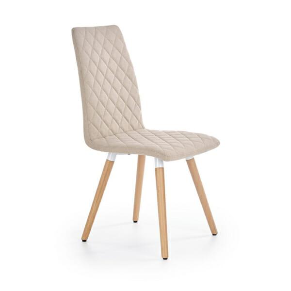 Стилен тапициран стол с дървена основа (3 цвята)-бежов