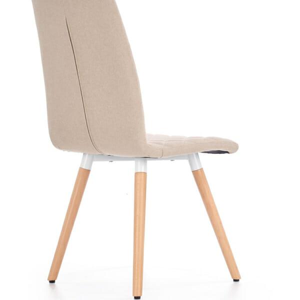 Стилен тапициран стол с дървена основа (3 цвята)-бежов отзад