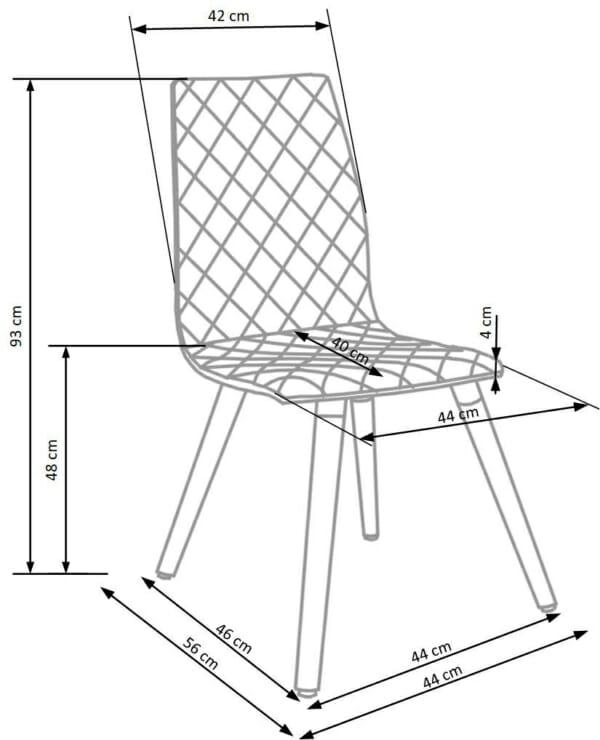 Стилен тапициран стол с дървена основа (3 цвята)-схема
