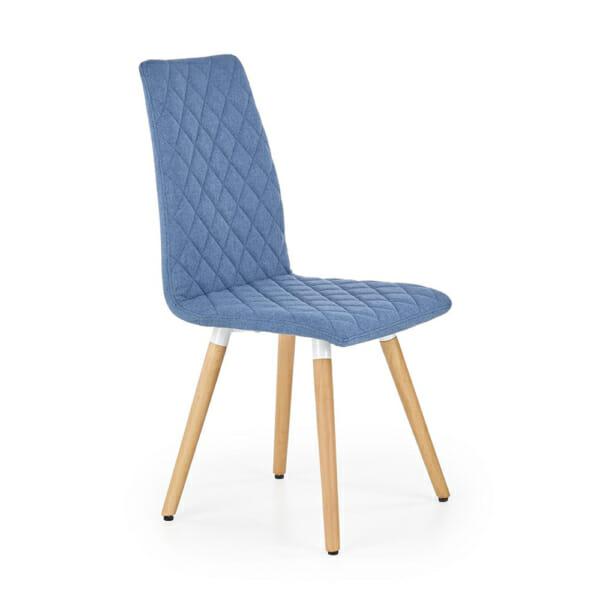 Стилен тапициран стол с дървена основа (3 цвята)-син