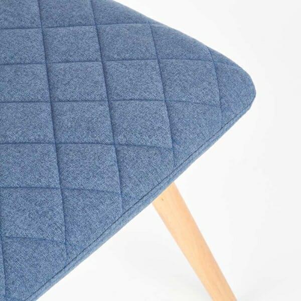 Стилен тапициран стол с дървена основа (3 цвята)-син детайл