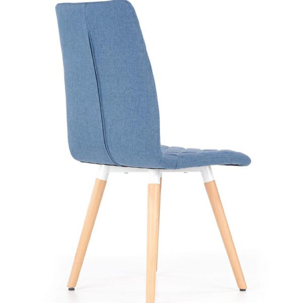 Стилен тапициран стол с дървена основа (3 цвята)-син отзад