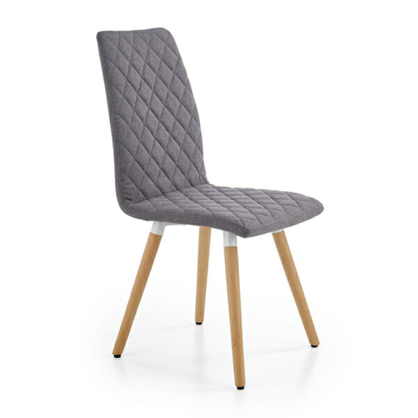 Стилен тапициран стол с дървена основа (3 цвята)-сив