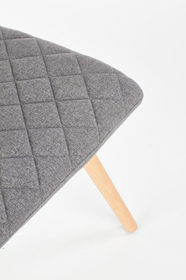 Стилен тапициран стол с дървена основа (3 цвята)-сив детайл