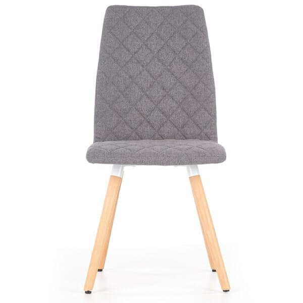 Стилен тапициран стол с дървена основа (3 цвята)-сив отпред
