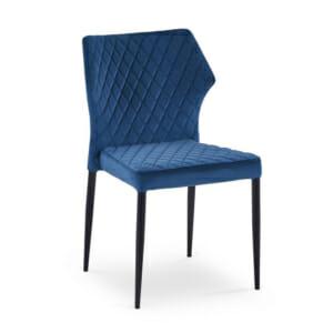 Стилен трапезен стол с дамаска и метални крака (2 цвята)-тъмносин