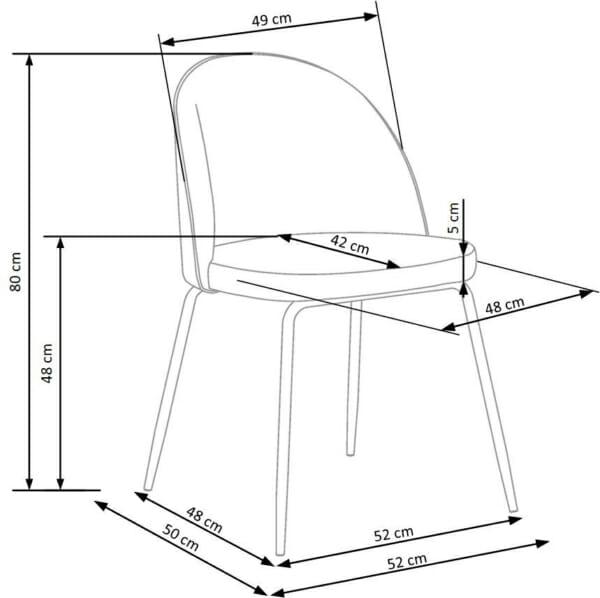Стол с цветна плюшена дамаска и метални крака (3 цвята)- схема
