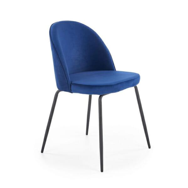 Стол с цветна плюшена дамаска и метални крака (3 цвята)-тъмносин