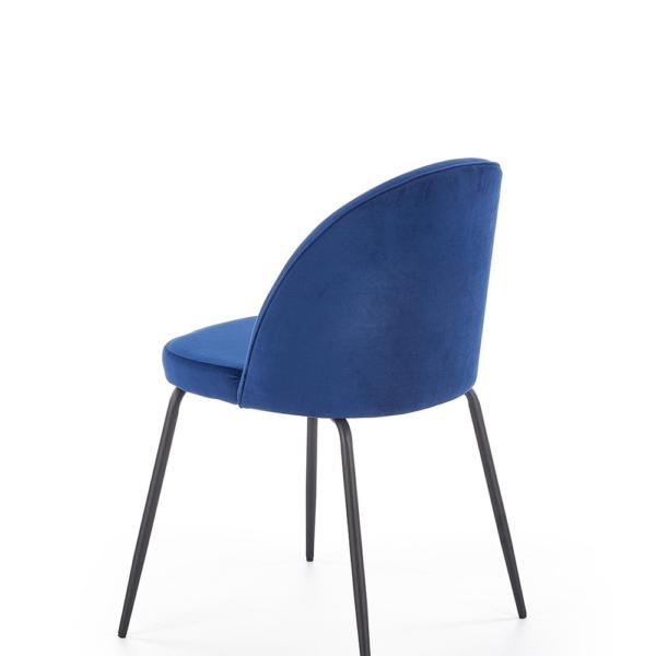 Стол с цветна плюшена дамаска и метални крака (3 цвята)-тъмносин гръб