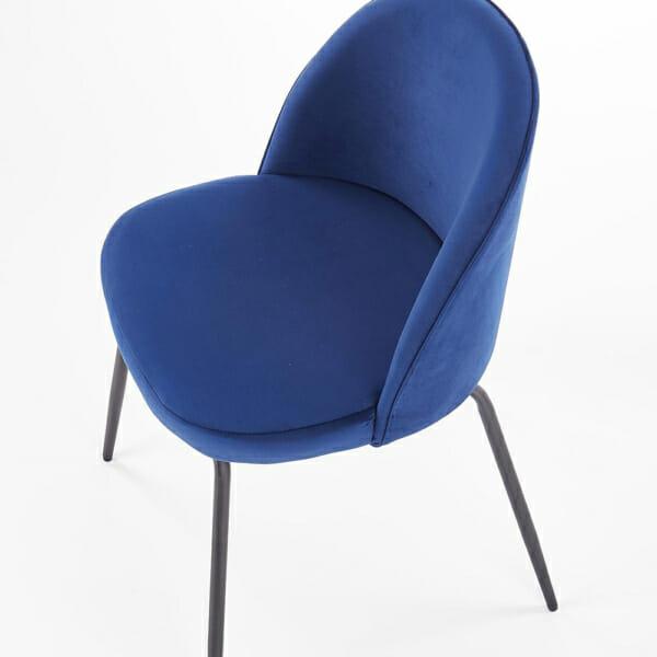 Стол с цветна плюшена дамаска и метални крака (3 цвята)-тъмносин отгоре