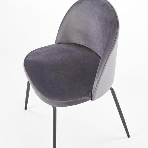 Стол с цветна плюшена дамаска и метални крака (3 цвята)-тъмносив отгоре