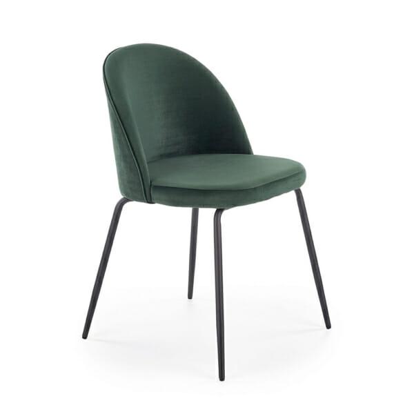 Стол с цветна плюшена дамаска и метални крака (3 цвята)-тъмнозелен