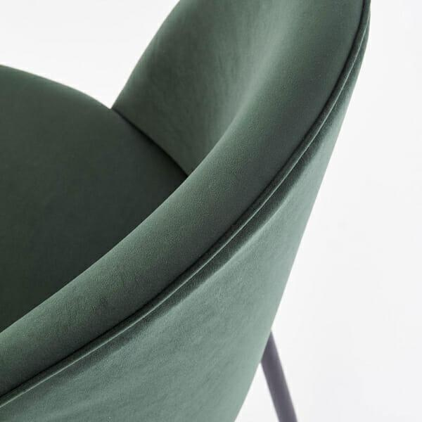 Стол с цветна плюшена дамаска и метални крака (3 цвята)-тъмнозелен детайл