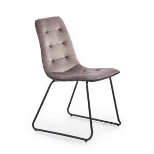 Стол с плюшена дамаска и метални крака (3 цвята) - сив