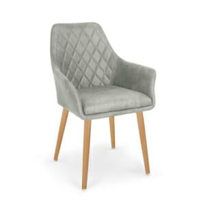 Стол с подлакътници от еко кожа с метални крака (4 цвята) - сив