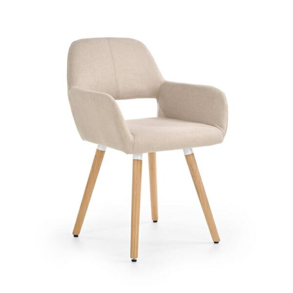 Тапициран стол с подлакътници и дървена основа (3 цвята)-бежов