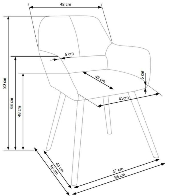 Тапициран стол с подлакътници и дървена основа (3 цвята)-схема