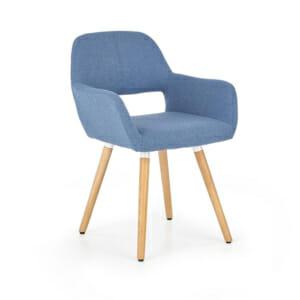Тапициран стол с подлакътници и дървена основа (3 цвята)-син